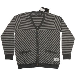 Crooks and Castles Foul and Flagarant Mens Striped Cardigan in Gray Sz