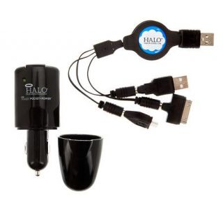 Halo Auto/Wall Charger w/ Retractable USB Cable & Tips   E223669