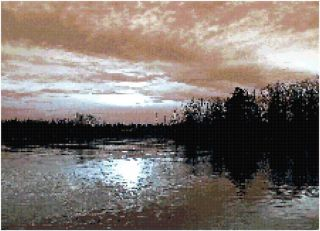 Solitary Sunrise Over Lake Counted Cross Stitch Pattern