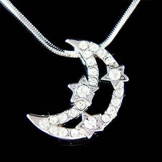 Swarovski Crystal Wish Star Crescent Moon Charm Pendant 18 Chain