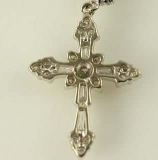 Beautiful Cross Pendant Necklace 14k White Gold Diamond