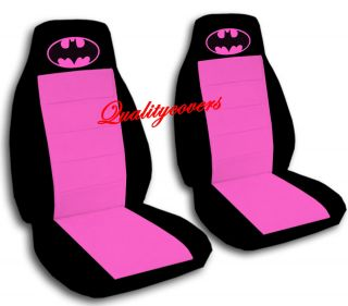 CUTE car seat covers in black and hot pink with pink batman high