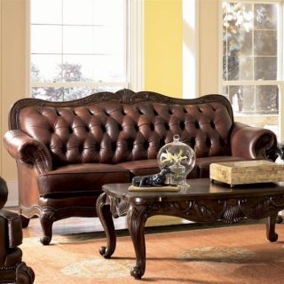 Victoria Classic Tufted Brown Leather Sofa Couch Living Family Room