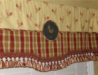 Custom Red Gold French Country Toile Black Rooster Valance Curtain