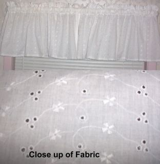 New White Eyelet Valances Curtains Window Cover Valance Kitchen