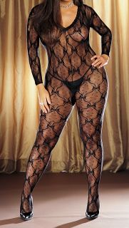 Dreamgirl Long Sleeve Lace Bodystocking Plus Size Style 0019X