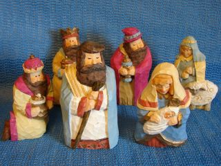 PIECE RESIN NATIVITY SET HAS THE LOOK OF HAND CARVED WOOD EA. IS