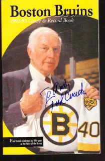 Fred Cusick Autograph Signed Boston Bruins Media Guide COA