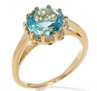 Topaz Gemstone Royal Crown Set Ring 14k Yellow Gold Clad Silver