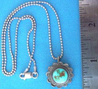 VINTAGE HAND MADE STERLING SILVER & TURQUOISE PENDANT & STERLING