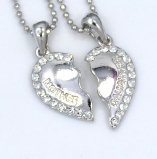 Heart Crystal 2 Pendants Charms 2 Necklaces Fast SHIP USA