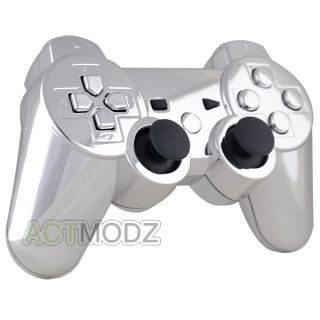 Chrome Silver Custom for PS3 Controller Shell with Matching Buttons