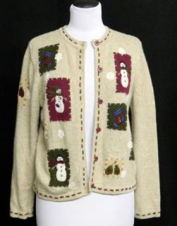 Croft Barrow Petite Size PM Christmas Sweater Snowmen Cardigan Brown
