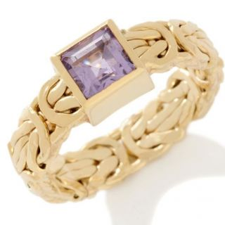 Technibond Princess Cut Amethyst Byzantine Ring 14k 925