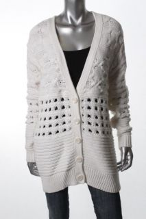 Cynthia Steffe New Ivory Ribbed Trim Long Sleeves V Neck Cardigan
