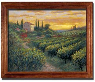 Tuscan Field Cyprus Trees House Landscape Print Framed