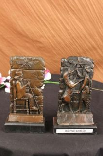 Pair of Cyrus King of Persia Bookends Book Ends Bronze Sculpture