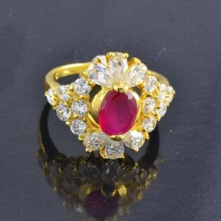 9K Solid Gold Filled CZ Ruby Wedding Flower Ring size 8 R244