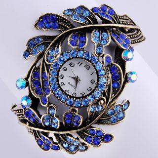 Unisex Elegant Protective color Swarovski Crystal bracelet watch