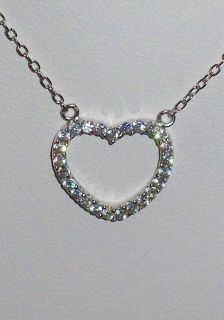 Sterling Silver CZ Heart Rhinestone Pendant Necklace