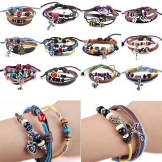 New Men Women Braid Leather Cord Bead Cross Heart Bracelet Wristband