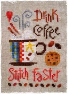 Drink Coffee Stitch Faster Cross Stitch Chart Pattern