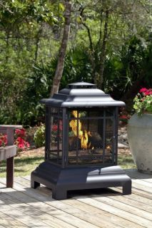 Outdoor Black Coated Steel Pagoda Patio Fireplace New Outdoors Fire