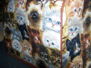 Kitten Faces Cats Quilted Fabric Cover 2 Slice Toaster