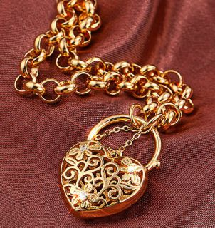 18k yellow gold filled CZ filigree heart padlock euro bolt Bracelet BL