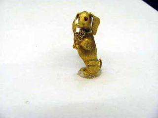 18K Yellow Gold Ruby Eyed Dachshund Brooch Pin A26368