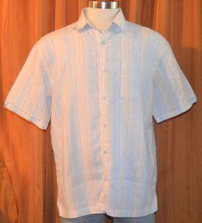 Cubavera Short Sleeve Light Blue Brown Beige Tan Stripe 100 Linen