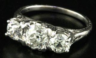 ANTIQUE PLATINUM VS 2 15CT DIAMOND THREE STONE COCKTAIL RING