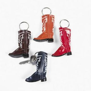 12 Western Cowboy Boots Key Chains Dozen Kids Party Favors Vending