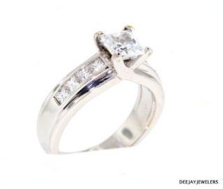 70ct Princess VS1 E Diamond 18kt w Gold Engagement Ring Semi 1 50ct