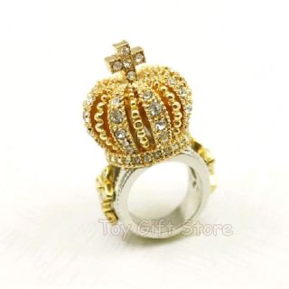 New 3D Royal Crown Cross King Queen Crystal Finger Ring