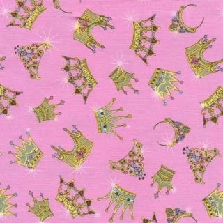 Pageants Princess Crowns Tiaras Pink Cotton Fabric BTY for Quilting