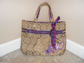 Authentic COACH POPPY TARTAN GLAM   Purple Plaid & Khaki Purse   Great