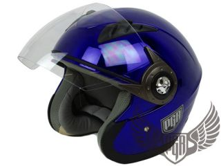Pilot Blue DOT Motorcycle Helmet Electric Scooter Moped Open Face ~ L