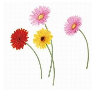 Daisies Flowers Adhesive Removable Wall Home Decor Accents Stickers