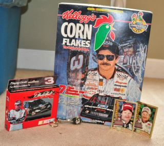 DALE EARNHARDT LOT CEREAL BOX BOTTLE OPENER METAL PLAYING CARDS