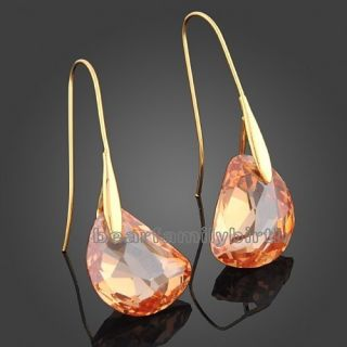 18K Gold GP Swarovski Crystal Drop Earrings 666