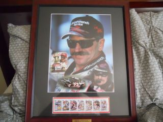Dale Earnhardt SR Photo 7 Row Stamps and Plaque 7 Time Winston Cup