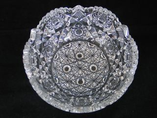 AMERICAN BRILLIANT HUNT CUT GLASS CRYSTAL CLEAR ANTIQUE BOWL ABP ROYAL