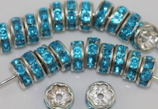 100pcs Silver Plated Lake Blue Crystal Rhinestone Spacer Beads 8mm