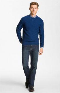 Hickey Freeman Wool & Cashmere Sweatshirt & Worn Jeans Straight Leg Jeans