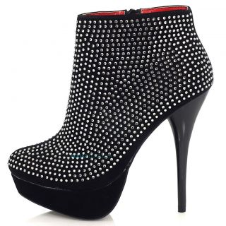 Dave54 Black Ankle High Heel Bootie Rhinestone Array Studs Women