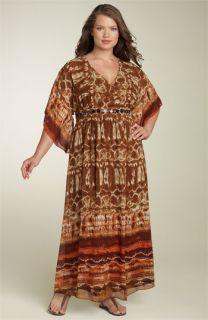 Robbie Bee Kimono Sleeve Print Maxi Dress (Plus)