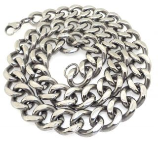 Men Stainless Steel Cuban Link Heavy Necklace 15mm Wide