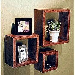 Set of 3 Square Cube Wall Mounted Wood Shelves Shelf