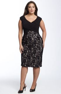 Adrianna Papell Matte Jersey & Lace Sheath Dress (Plus)